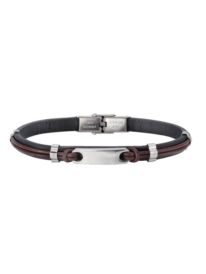 nox Armband Edelstahl 21cm Glänzend, schwarz/braun