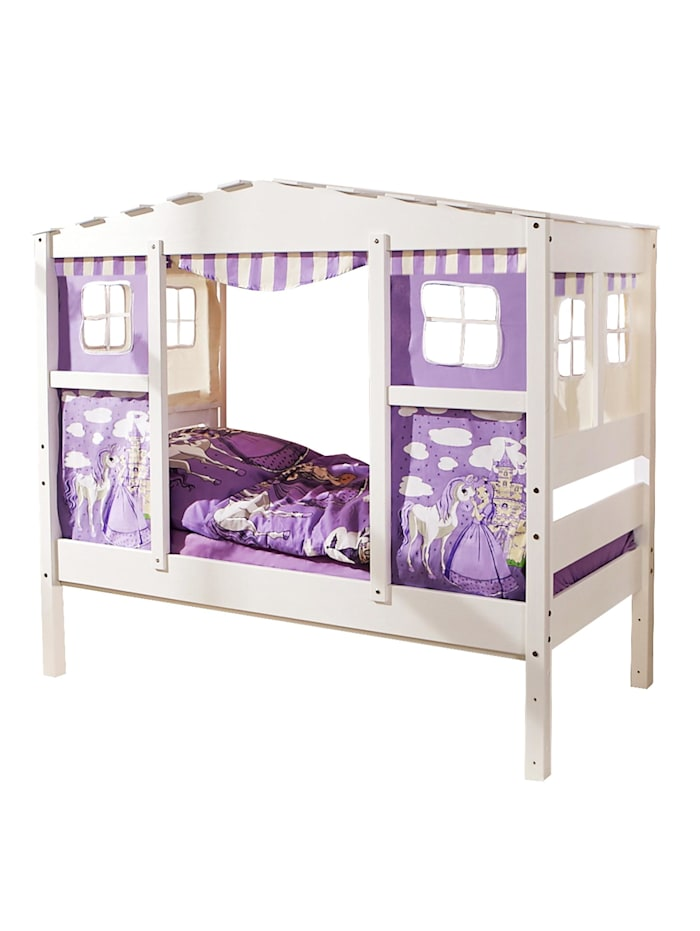 "Hausbett Mini mit Bettkasten ""Horse Lila"" Kiefer Weiß"