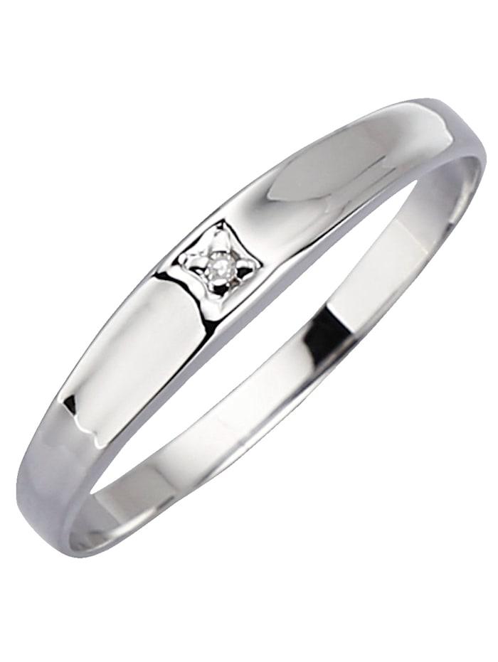 KLiNGEL Damenring mit Diamant, Weiß