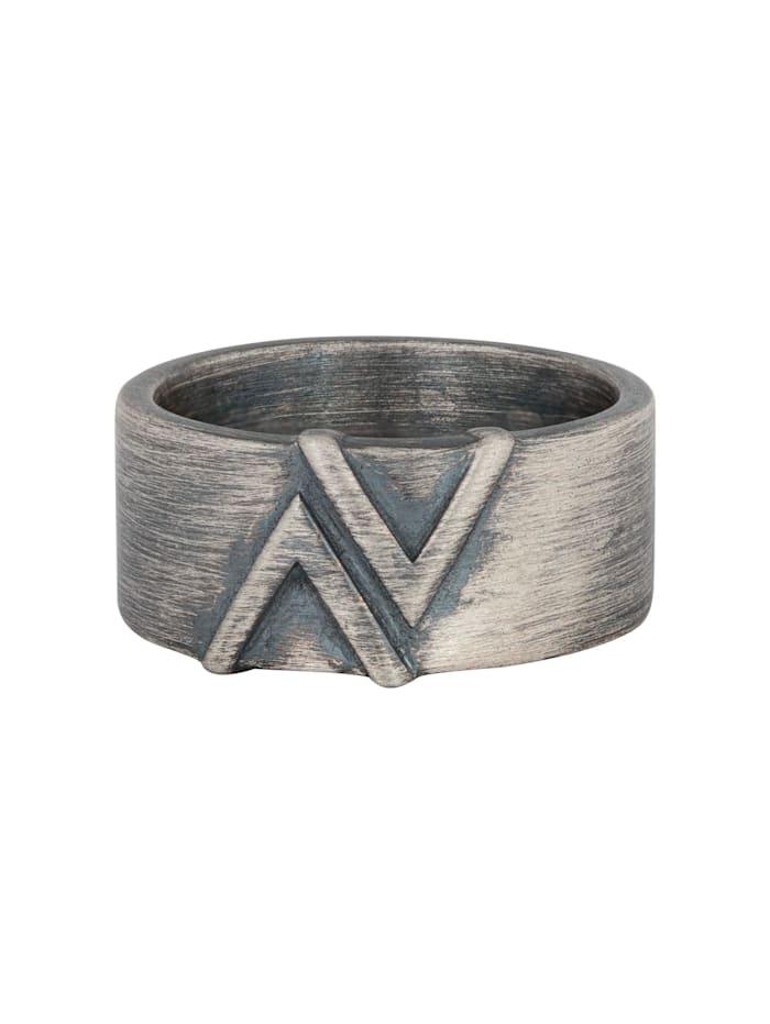 CAI Ring 925/- Sterling Silber ohne Stein Geschwärzt, Silbergrau