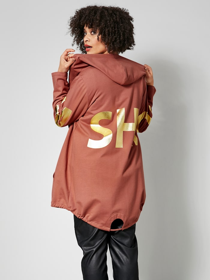Sweatvest met fashion-print aan de mouwen en achterkant