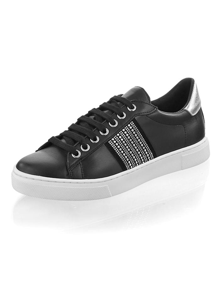 Alba Moda Sneaker aus Ziegenleder, Schwarz