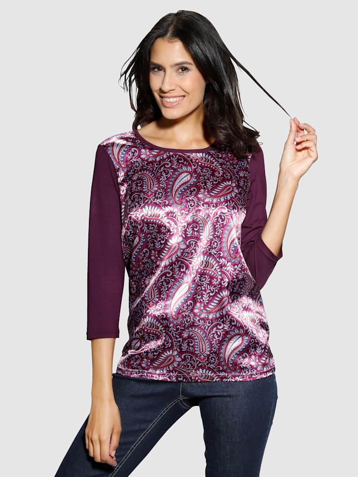 Laura Kent Shirt mit Paisley-Dessin im Vorderteil, Beere