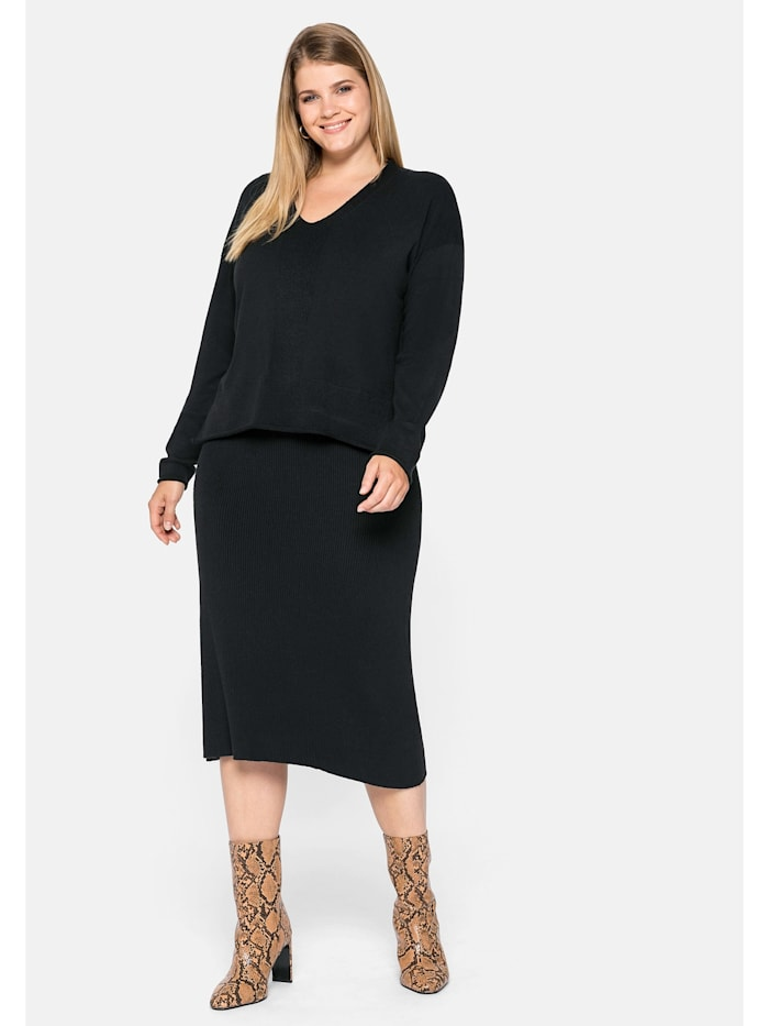 Sheego Kleid in zweiteiliger Optik, schwarz
