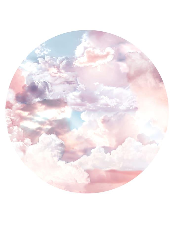 Komar Runde Fototapete, Wolken, blau, weiß, rosa