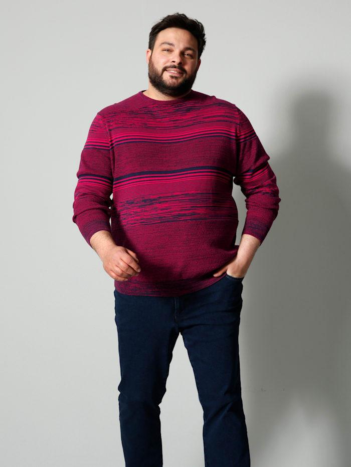 Men Plus Pullover Spezialschnitt, Marineblau/Rot