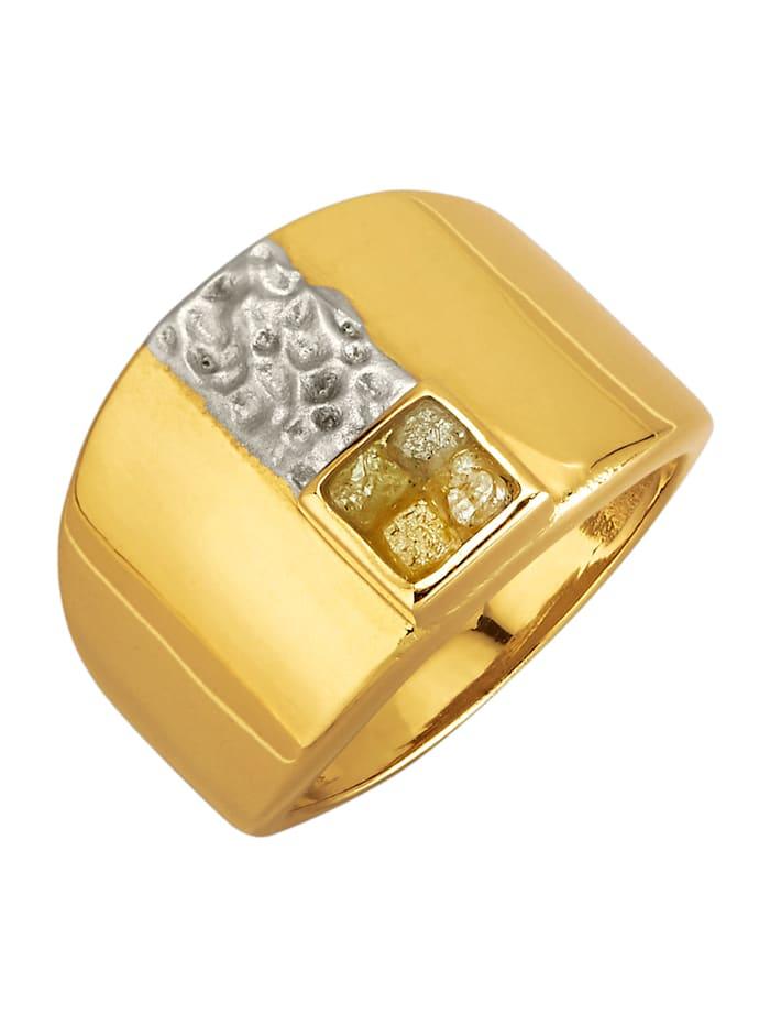 Diemer Atelier Damesring met ruwe diamanten, Geelgoudkleur
