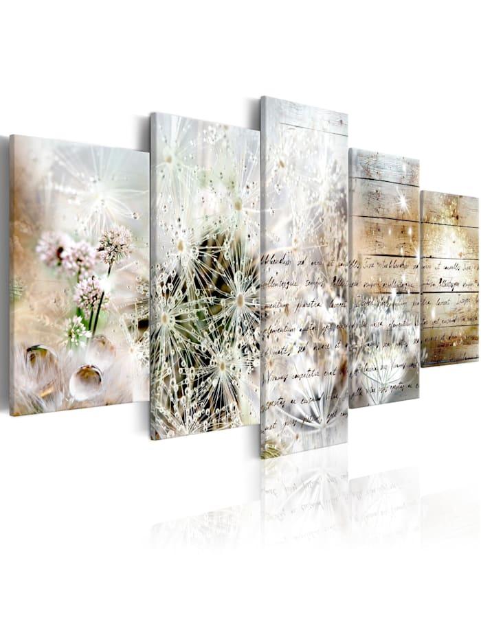 artgeist Wandbild Starry Dandelions II, Beige,Schwarz,Blau,Grün,rosa,Weiß