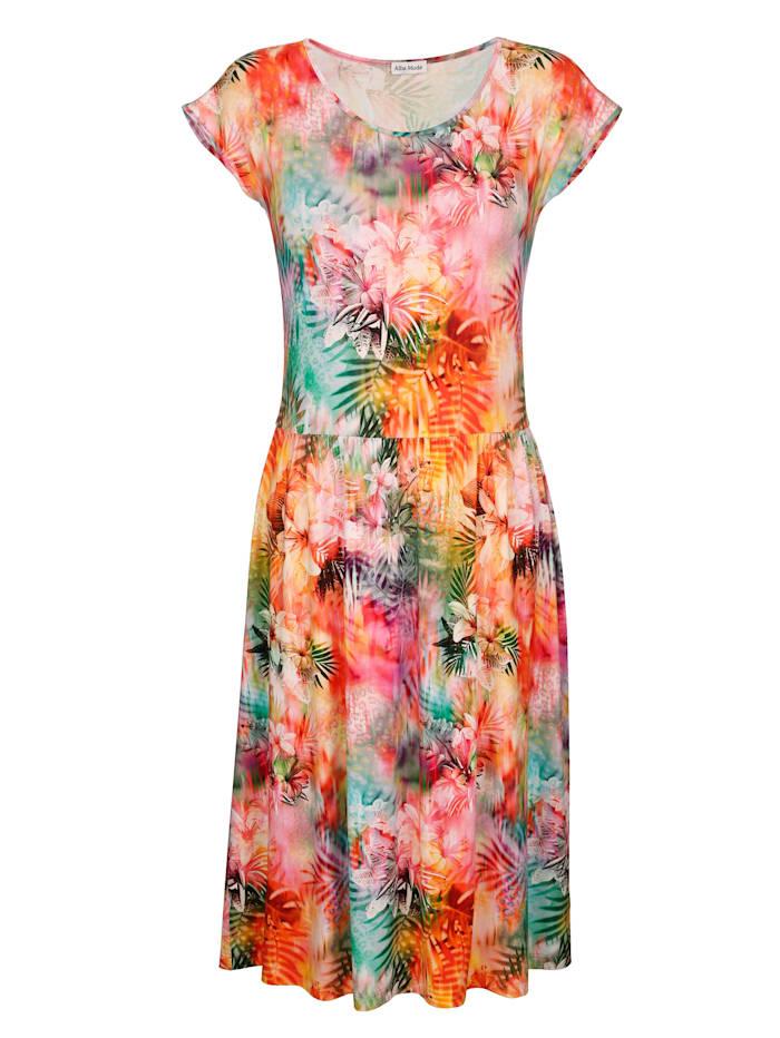 Alba Moda Strandkleid mit buntem Druck, Orange-Bunt