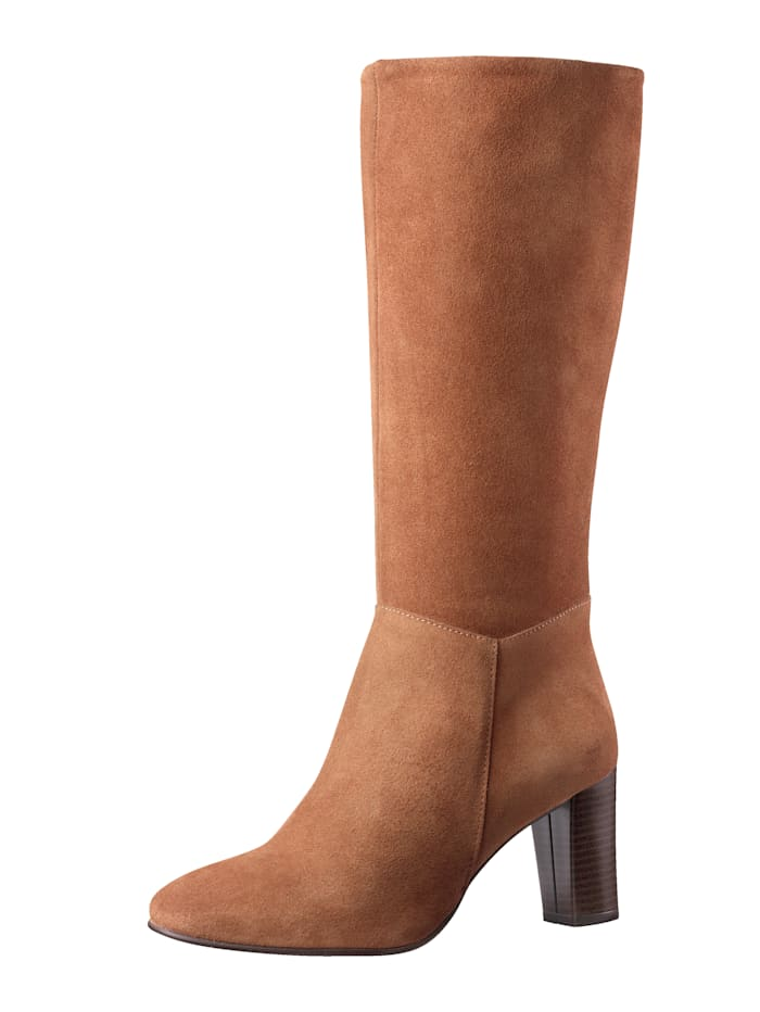 Stiefel aus feinem Veloursleder, Cognac