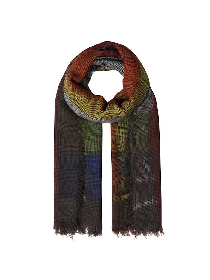 Codello Premium Karo-Schal aus feinster Wolle mit Seide – Made in Italy, dark grey
