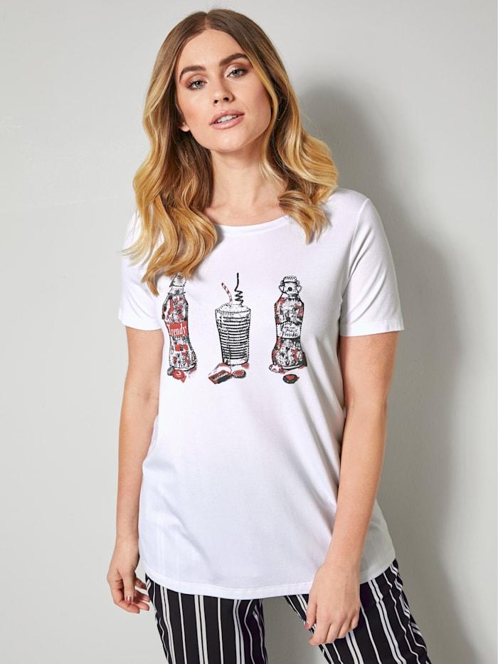 Sara Lindholm Shirt met coole print, Wit/Rood