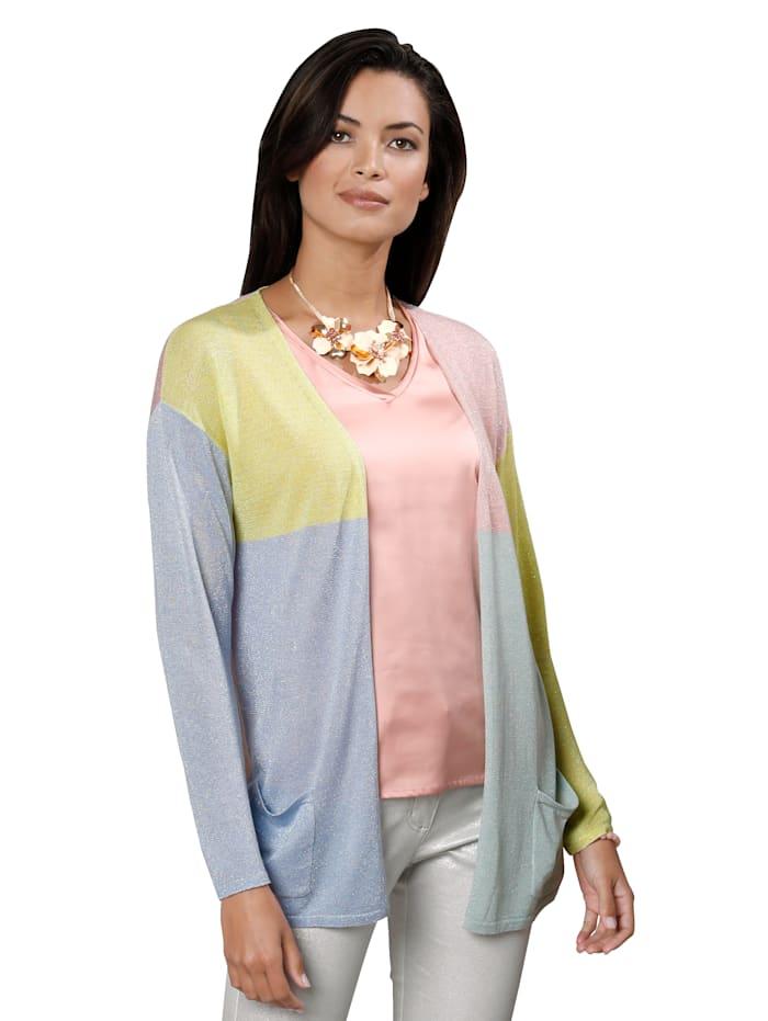 AMY VERMONT Vest met lurex, Roze/Geel/Lichtblauw