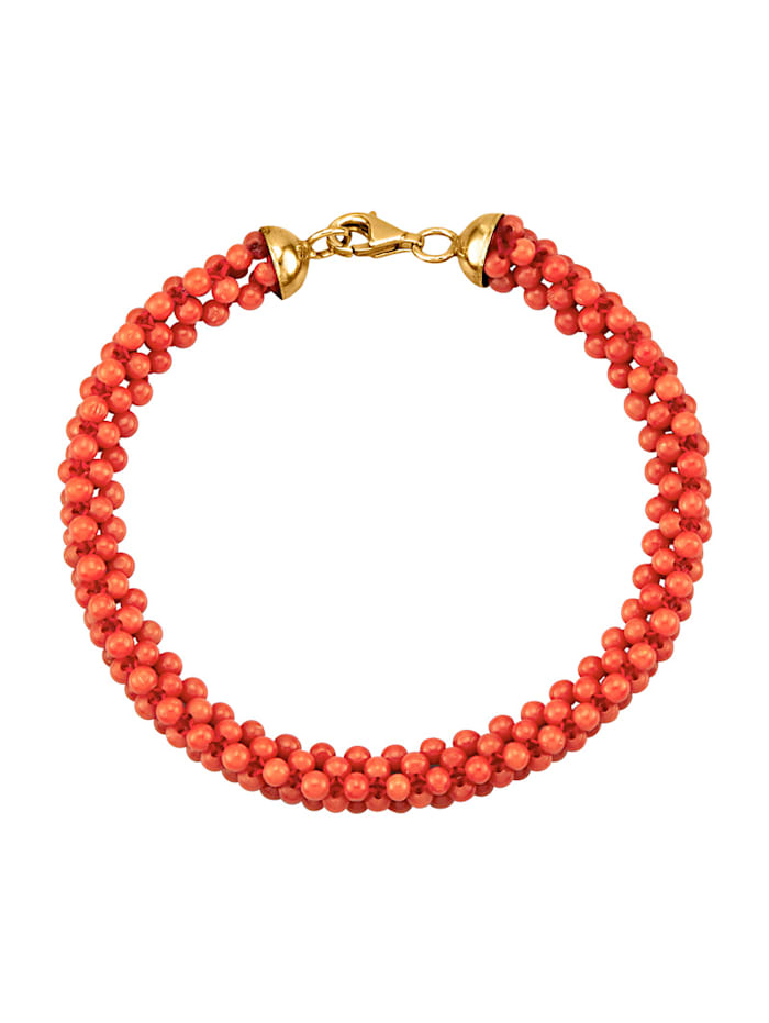 Diemer Farbstein Armband met koralen, Rood