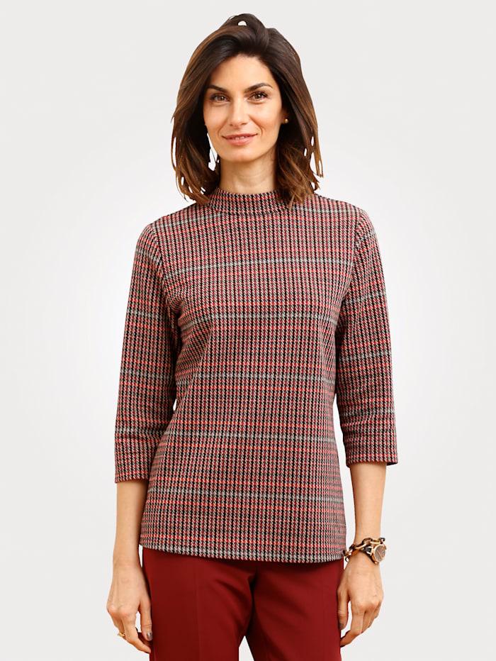 MONA Shirt mit Hahnentrittmuster, Rot/Schwarz