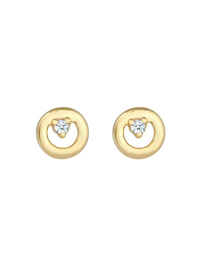 Ohrringe Kreis Rund Diamanten (0.03 Ct) Edel 375Er Gelbgold
