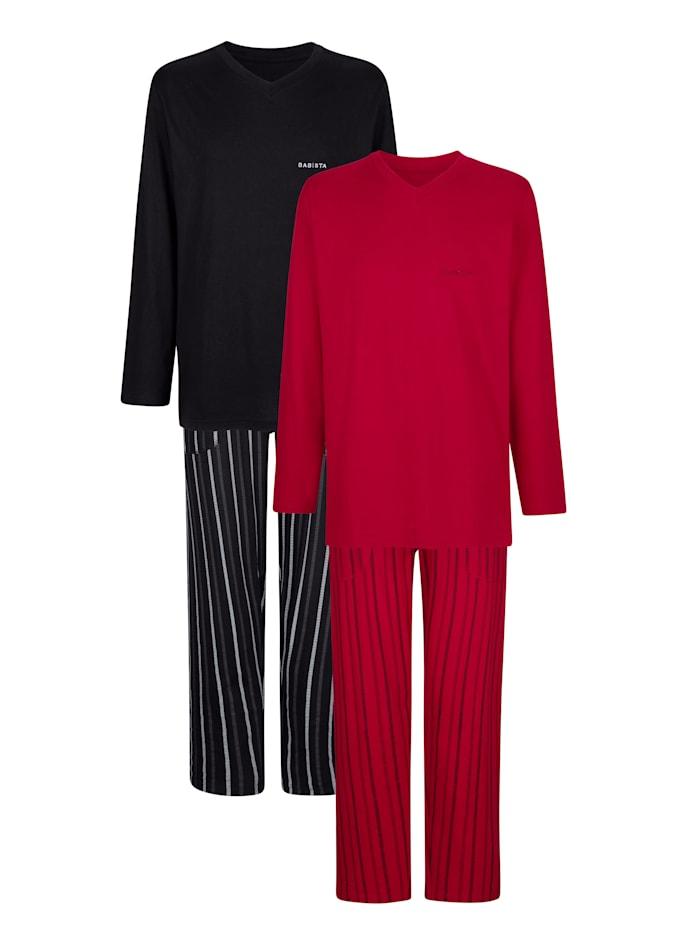 BABISTA Pyjamas par lot de 2, Rubis/Noir
