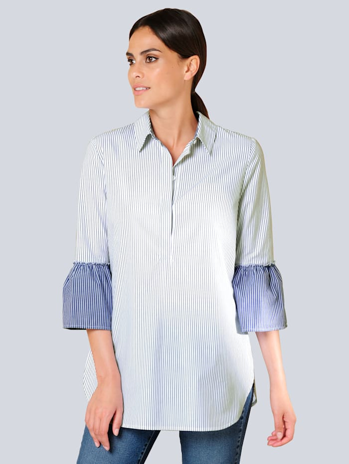 Alba Moda Bluse mit Rüschenvolant am Armabschluss, Blau/Weiß