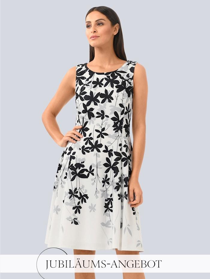Alba Moda Kleid mit floralem Druck im Verlauf, Off-white/Grau/Schwarz