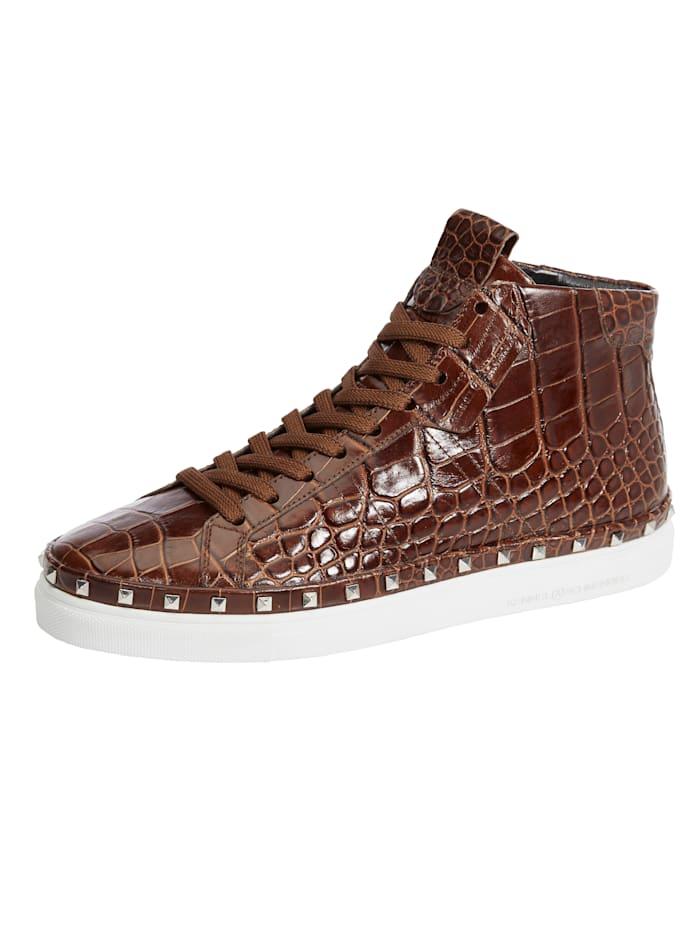 Kennel & Schmenger Sneakers montantes avec application rivetée, Marron