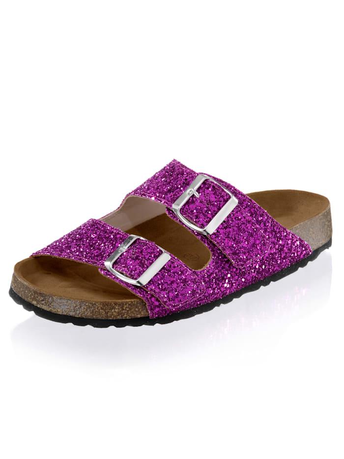 Alba Moda Pantolette im Glitter-Look, Fuchsia