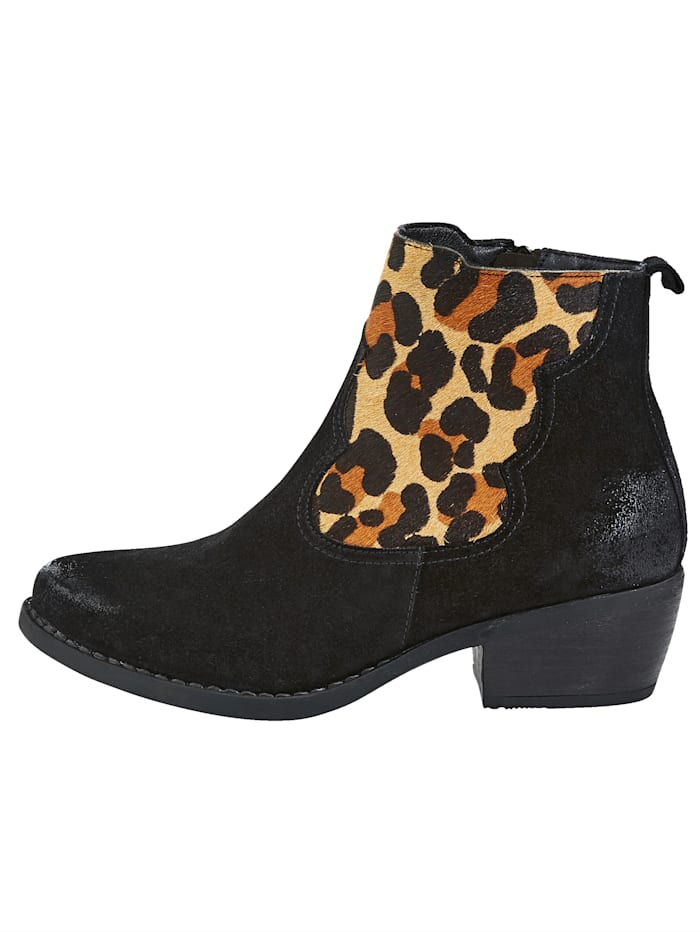 Bottines à empiècement aspect léopard