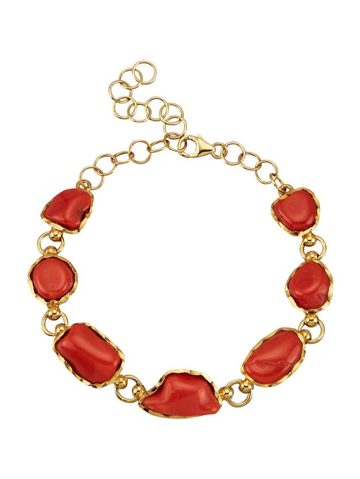 Amara Pierres colorées Bracelet en argent 925, Rouge