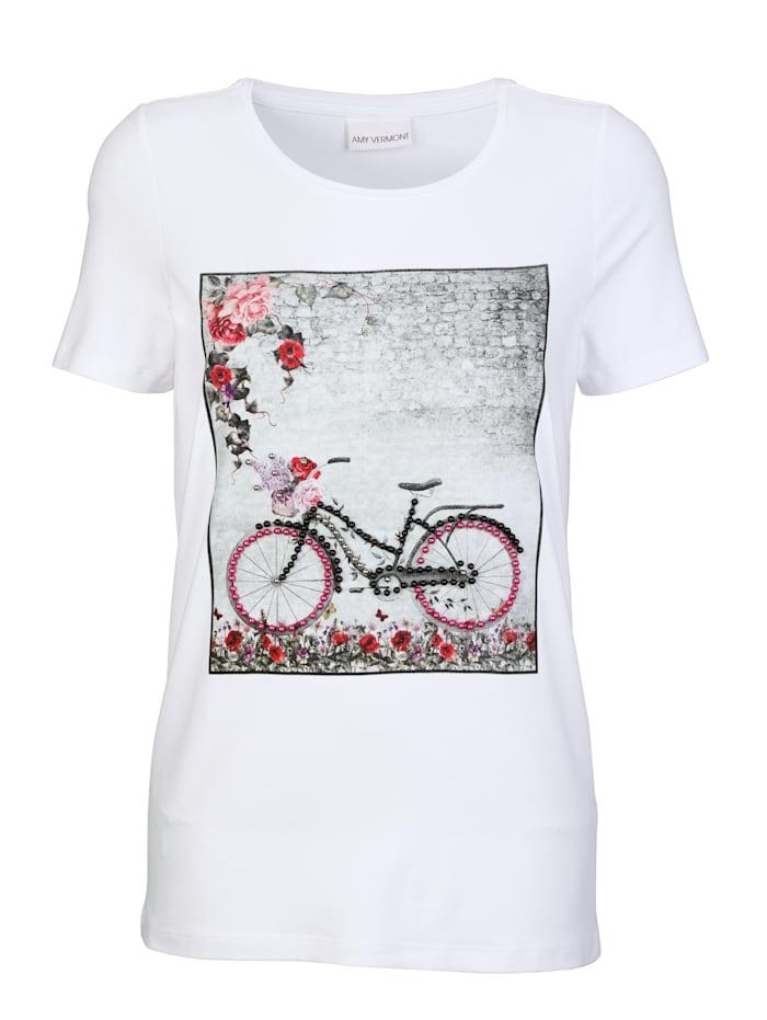 AMY VERMONT Shirt mit Druck und dekorativen Perlen, Weiß