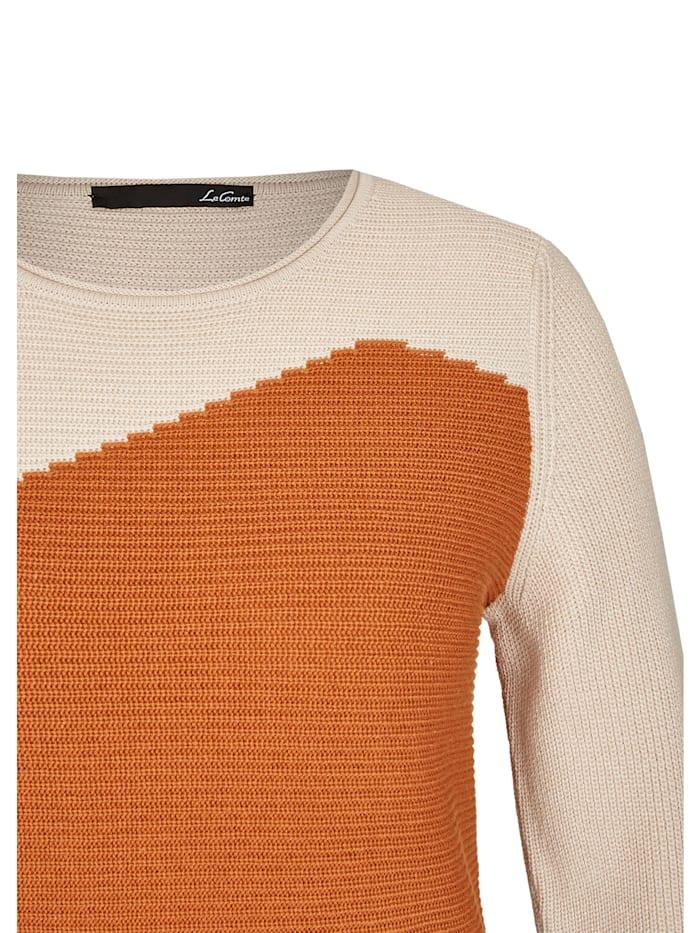 Pullover mit Colour-Blocking und Rippenstrick