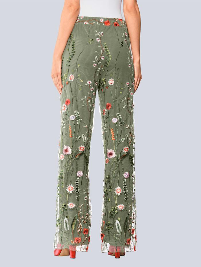 Hose mit floral bestickter Mesh-Lage