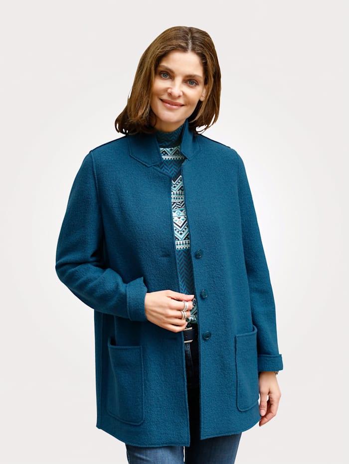 MONA Veste en laine foulée en pure laine vierge, Pétrole