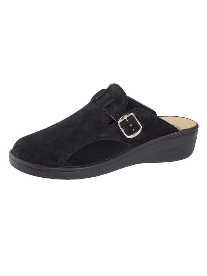 Franken Schuhe Muiltje met inzet van mosschuim, Zwart