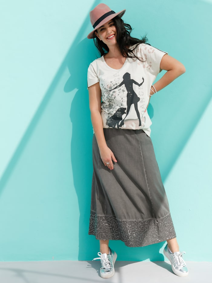 MIAMODA Shirt mit Dekoband auf Schulter, Creme-Weiß/Multicolor