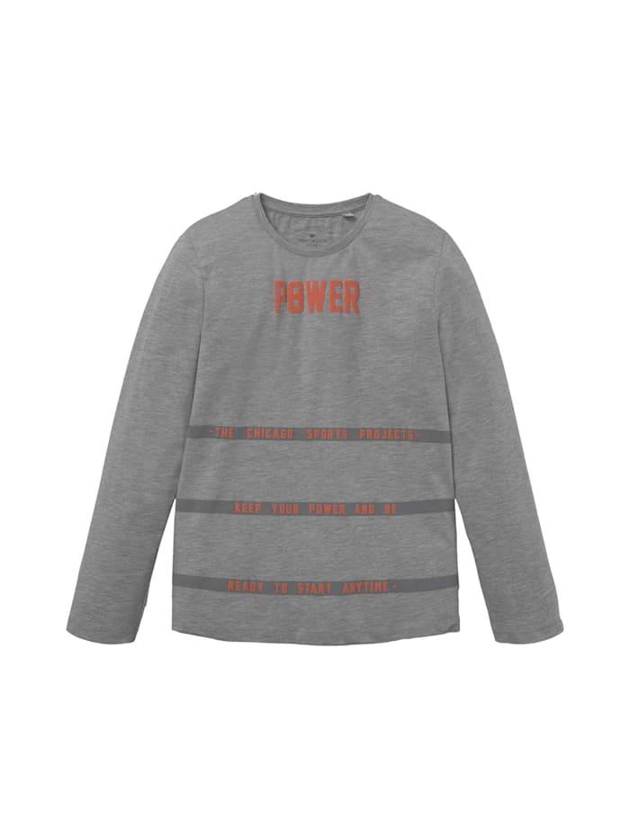 Tom Tailor Sportliches Langarmshirt, drizzle melange gray