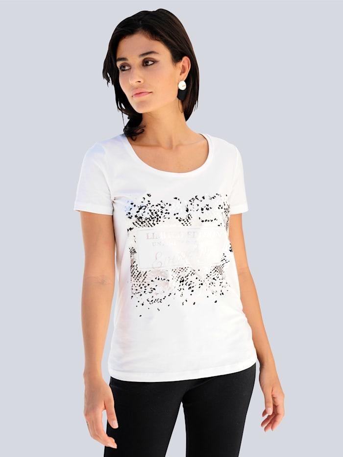Alba Moda Shirt mit Metallic-Print im Vorderteil, Off-white/Schwarz