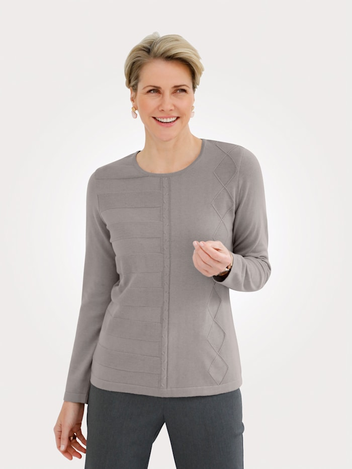 MONA Pullover mit Merino-Wolle, Taupe