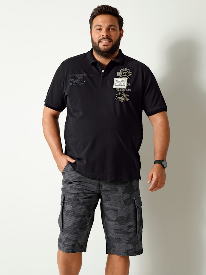 Men Plus Polo en pur coton, Noir