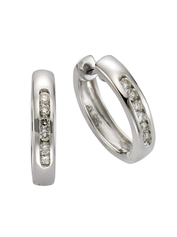 Diamonds by Ellen K. Creolen 585/- Gold Brillant weiß Brillant 1,6cm Glänzend 0,25ct. 585/- Gold, weiß