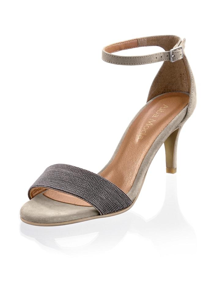 Alba Moda Sandalette mit kleinen Kügelchen besetzt, Taupe