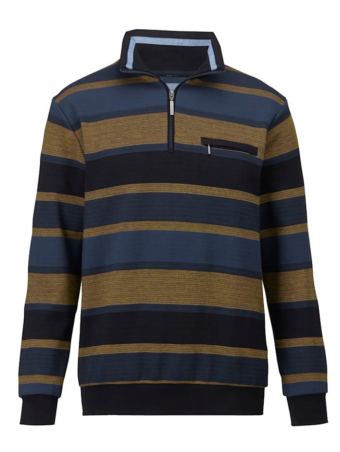 BABISTA Sweat-shirt à poche poitrine, Bleu/Moutarde