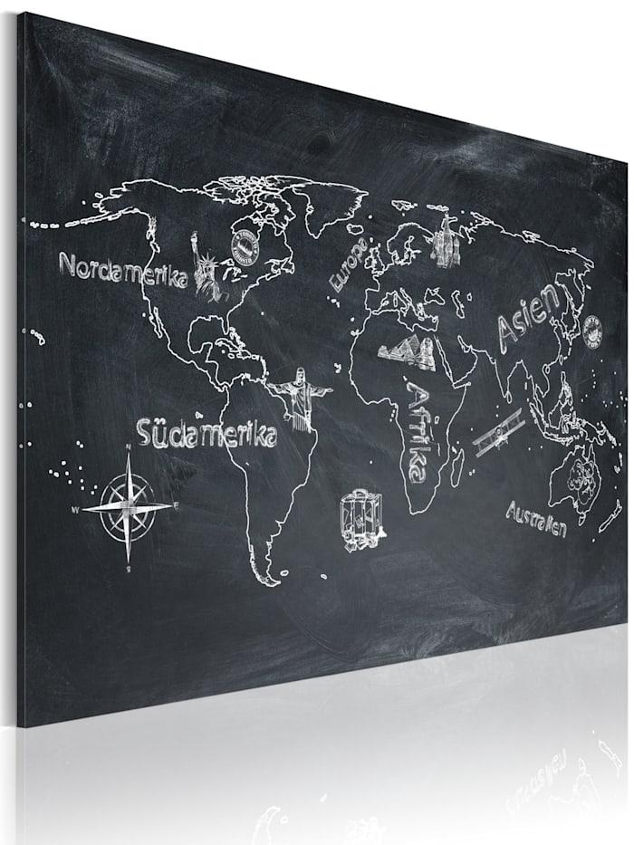 artgeist Wandbild Erdkundeunterricht (in deutscher Sprache), Grau,Weiß