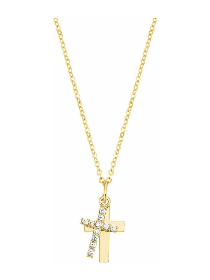 amor Kette mit Anhänger für Damen, Gold 375, Zirkonia Kreuz, Gold