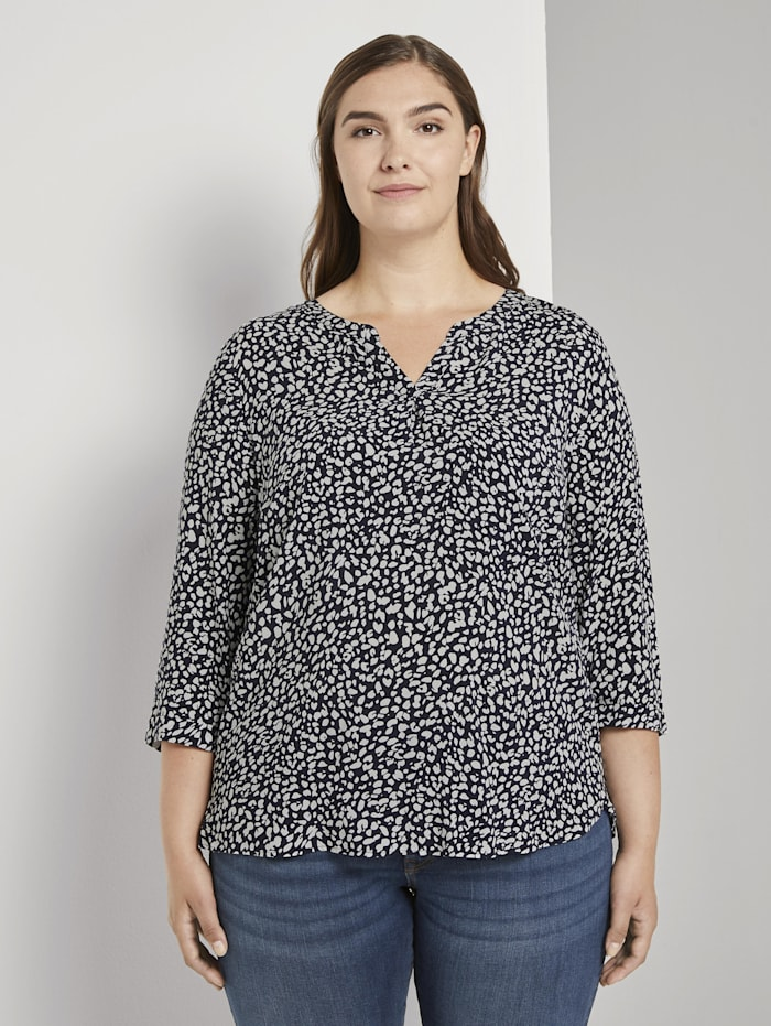 MY TRUE ME by Tom Tailor Gemusterte Henley-Bluse, navy abstract leopard design