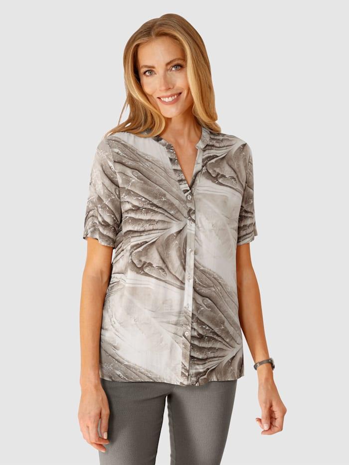 MONA Bluse mit effektvollem Druck, Taupe/Weiß