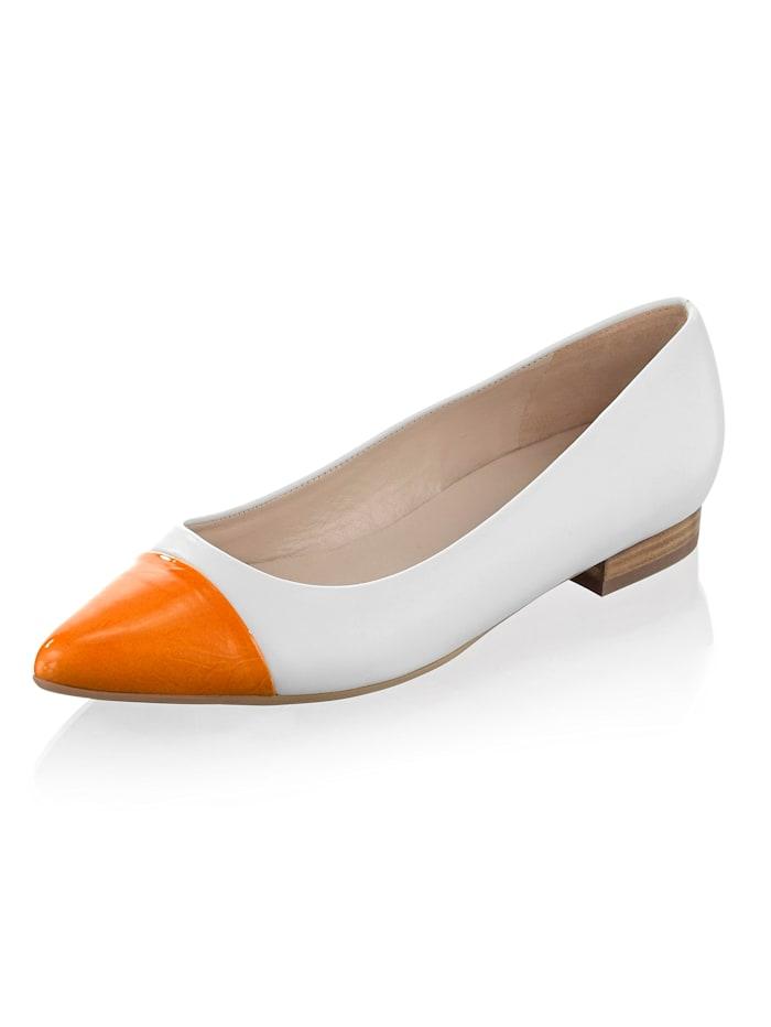 Peter Kaiser Ballerina mit Lackleder-Spitze, Creme-Weiß/Orange
