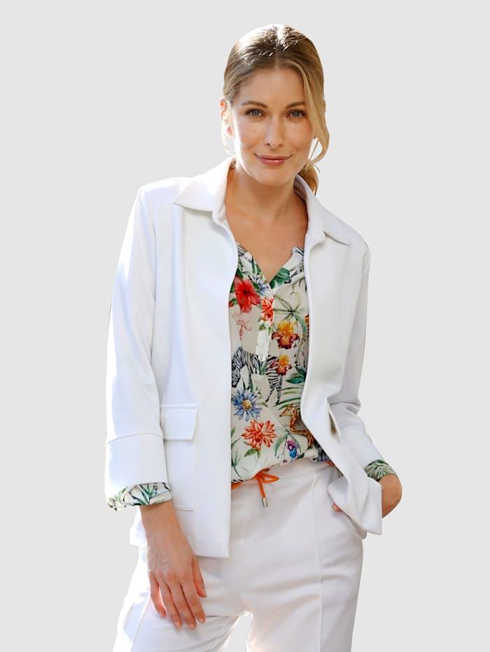 Laura Kent Jersey blazer in modieus kort model, Wit