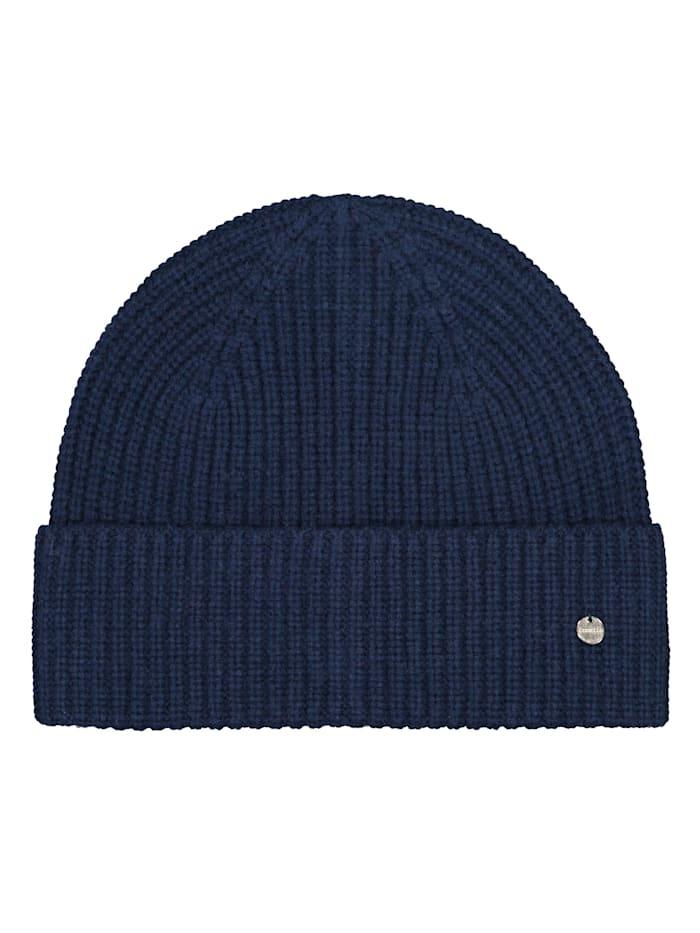 Codello Warme Rippstrickmütze mit Wolle, navy blue