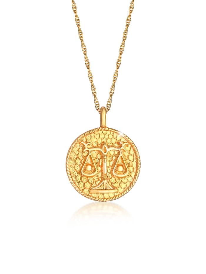 Elli Halskette Sternzeichen Waage Münze 925 Silber, Gold