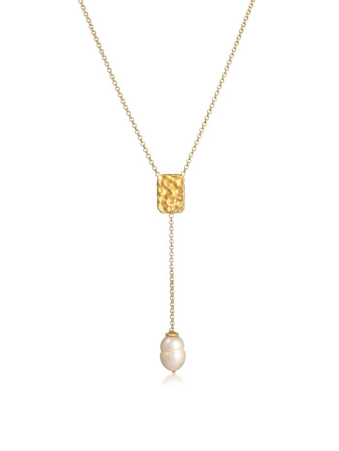 Elli Premium Halskette Y-Kette Barock Perle Organic Zeitlos 925 Silber, Gold