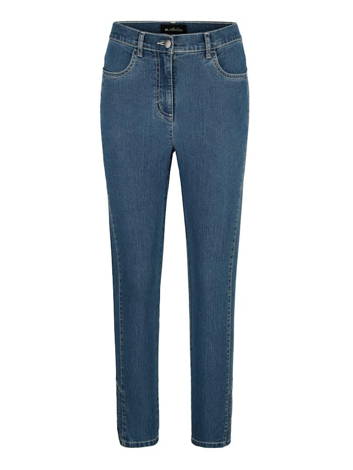7/8 Jeans mit Nietenapplikation am Saum
